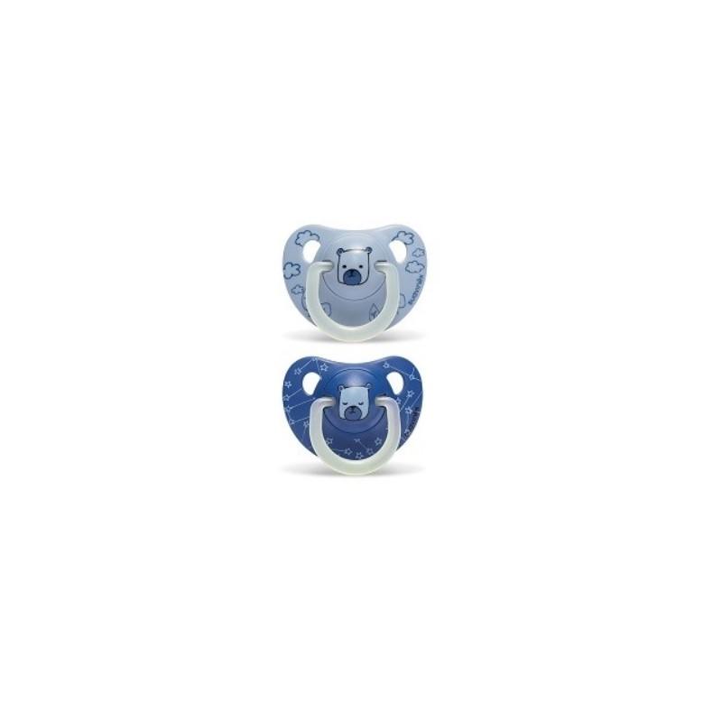 SUAVINEX Duplo Chupete Latex Night & Day 6-18 meses (azul)