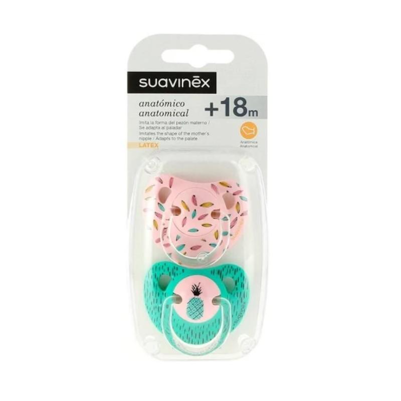 SUAVINEX Duplo Chupete Anatómico Látex +18 meses (Rosa y Verde Piña)