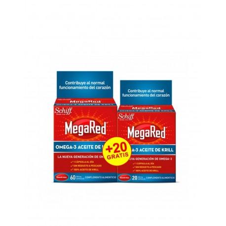 MEGARED Omega-3 Aceite de Krill 60 Cápsulas + 20 GRATIS