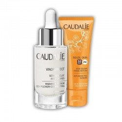 DUPLO CAUDALIE Vinoperfect Sérum Resplandor Antimanchas 30ML + CAUDALIE Soleil Divin. Tratamiento Solar Facia FPS50. 40Ml.