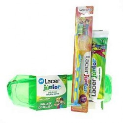 LACER Júnior Kit Gel Dental Menta 75ML + Cepillo Dental + Neceser