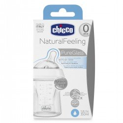 CHICCO Biberón Natural Feeling de Vidrio Flujo normal 150ML 0m+