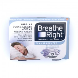 Breathe Right Tiras Nasales Transparente (10 unid Grandes)