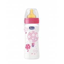 CHICCO Biberon Well-Being Rosa 330ML Latex Flujo Rapido