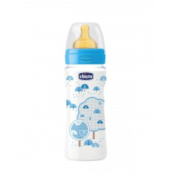 CHICCO Biberon Well-Being Azul 330ML Latex Flujo Rapido