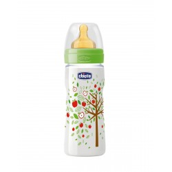 CHICCO Biberon Well-Being Verde 330ML Latex Flujo Rapido