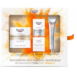 EUCERIN pack Hyaluron-Filler+Elasticity Dia+Contorno Ojos+VitC Booster Serum