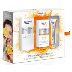 EUCERIN pack Hyaluron-Filler Dia FPS15 Piel Normal y Mixta Contorno Ojos VitC Booster Serum