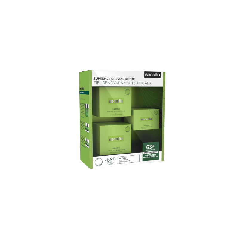 SENSILIS Pack Supreme Renewal Detox Crema Dia 50ml+Crema Nohe 50ml+Mascarilla 5ml