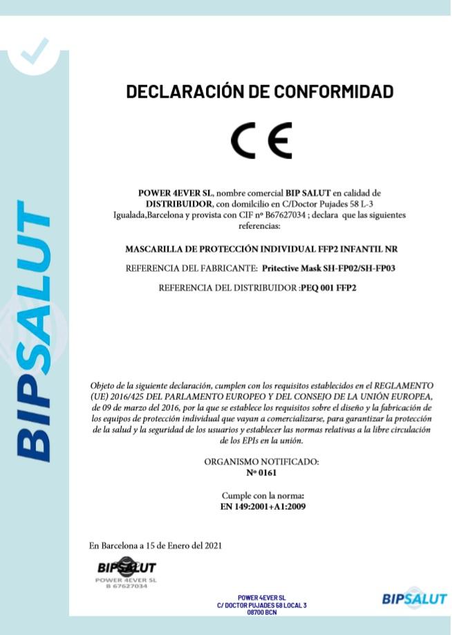 Declaración de Conformidad CE de las Mascarillas FFP2 Niños Homologadas NEGRA - SHUHUI
