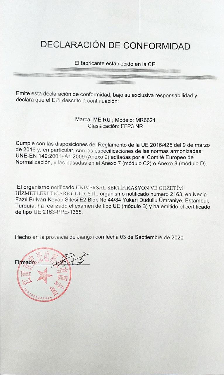 Declaración de Conformidad de las Mascarillas FFP3 Alta Eficacia de Filtración >98% 5 Capas MEIRU