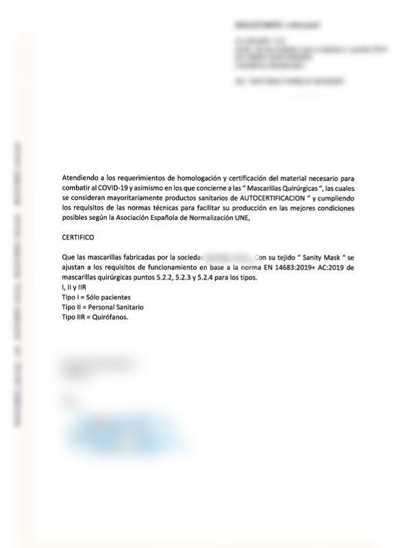 Certificacion material sanitario mascarillas para niños de algodon organico