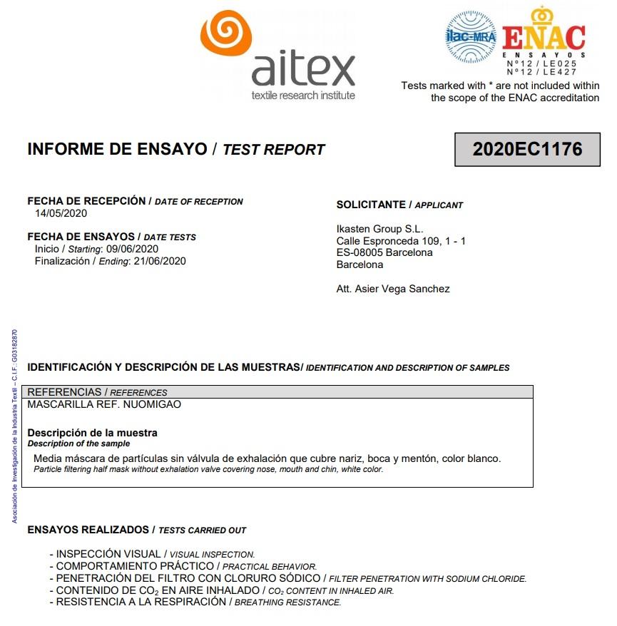 Mascarillas KN95 5 capas 95% Filtración Nuomigao Certificado