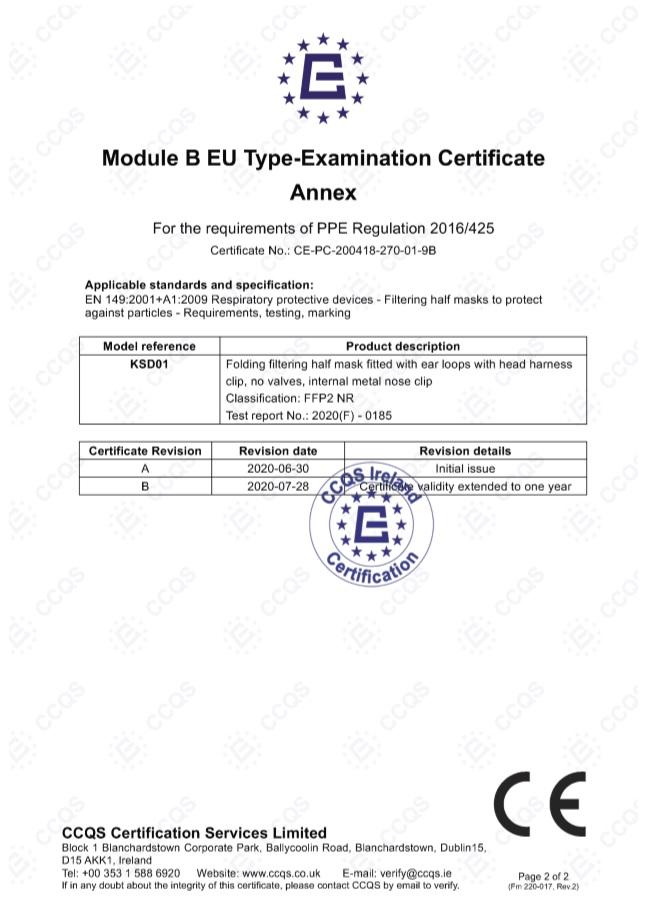 Certificado de las Mascarillas FFP2 NR Protectora Desechable Adulto 3 unidades INCA