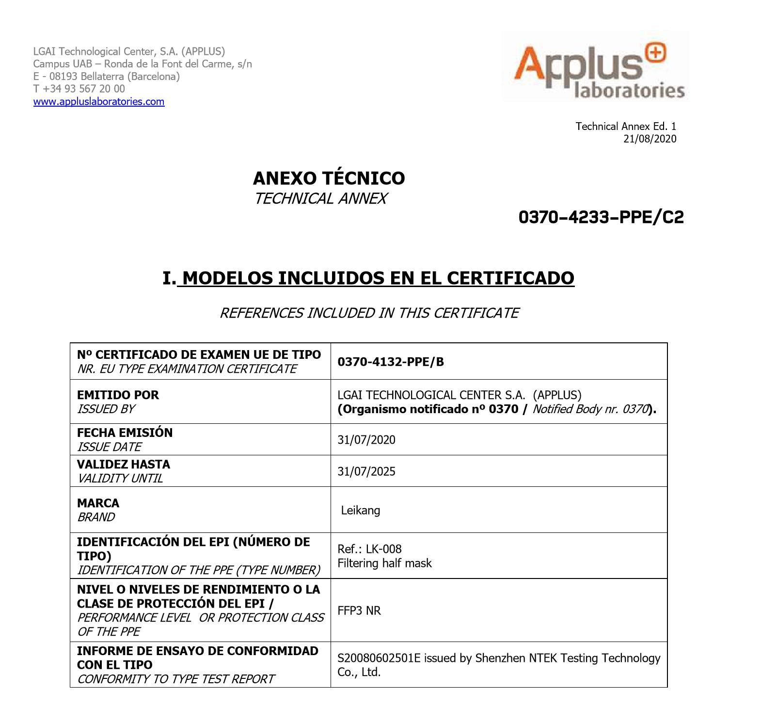 Certificado de MascarillaFFP3 Alta Eficacia de Filtración >99% 5 Capas LEIKANG