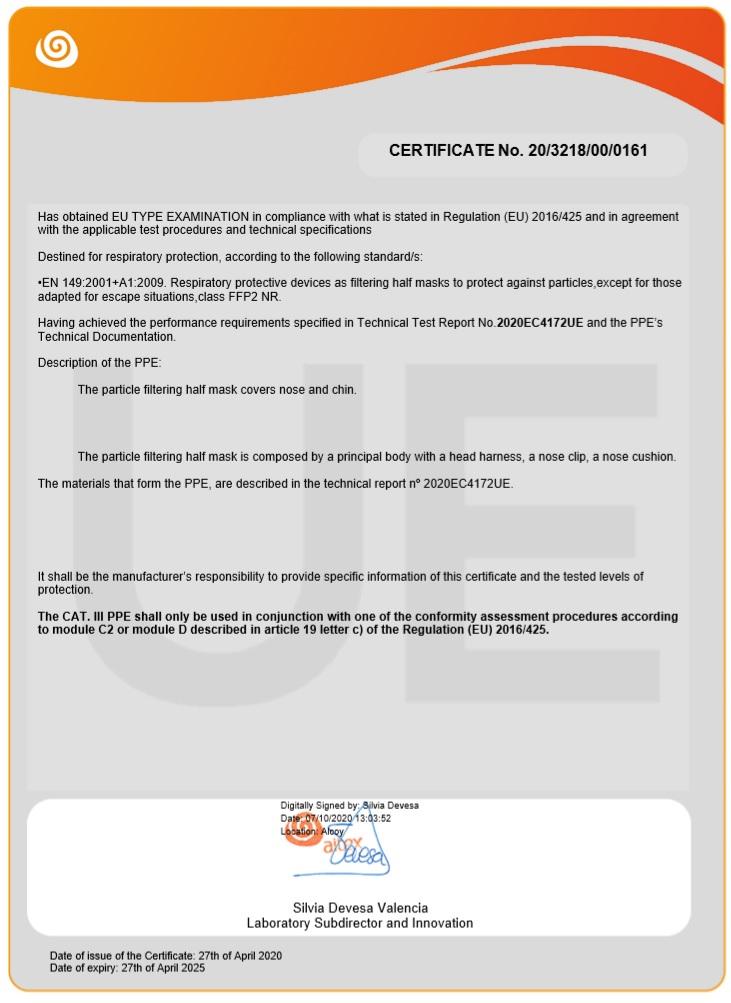 Certificado de la Mascarilla FFP2 Niños Homologada Negra BFE 95% NR - NEW SCIENCE