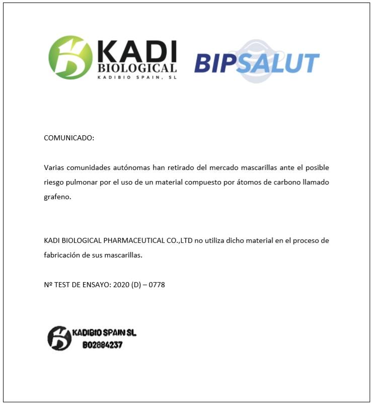 Mascarilla FFP2 Sin Grafeno Bipsalut - Kadi Certificación Libre de Grafeno