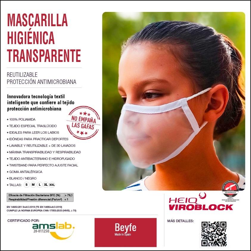 Mascarilla Transparente Homologada