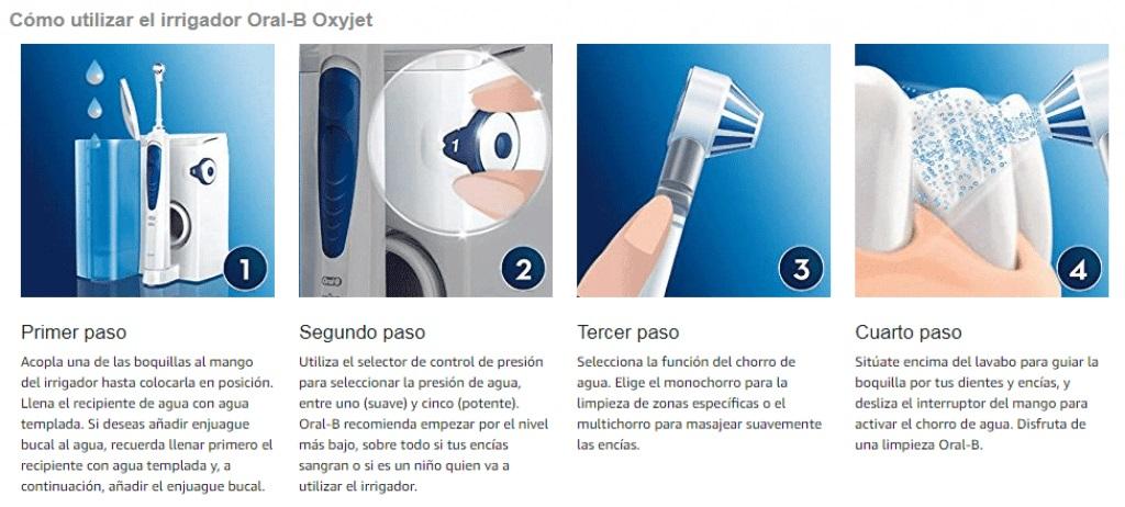Oral-b Instrucciones irrigador Oxyjet Cómo utilizar irrigador dental