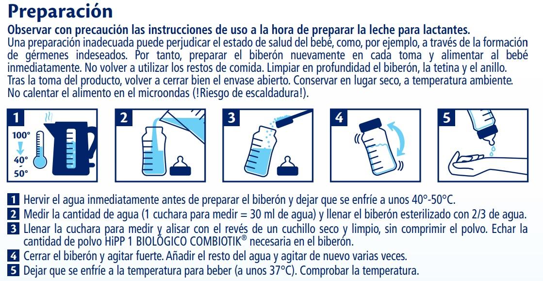 hipp combiotik 1 leche biologica de iniciacion preparacion