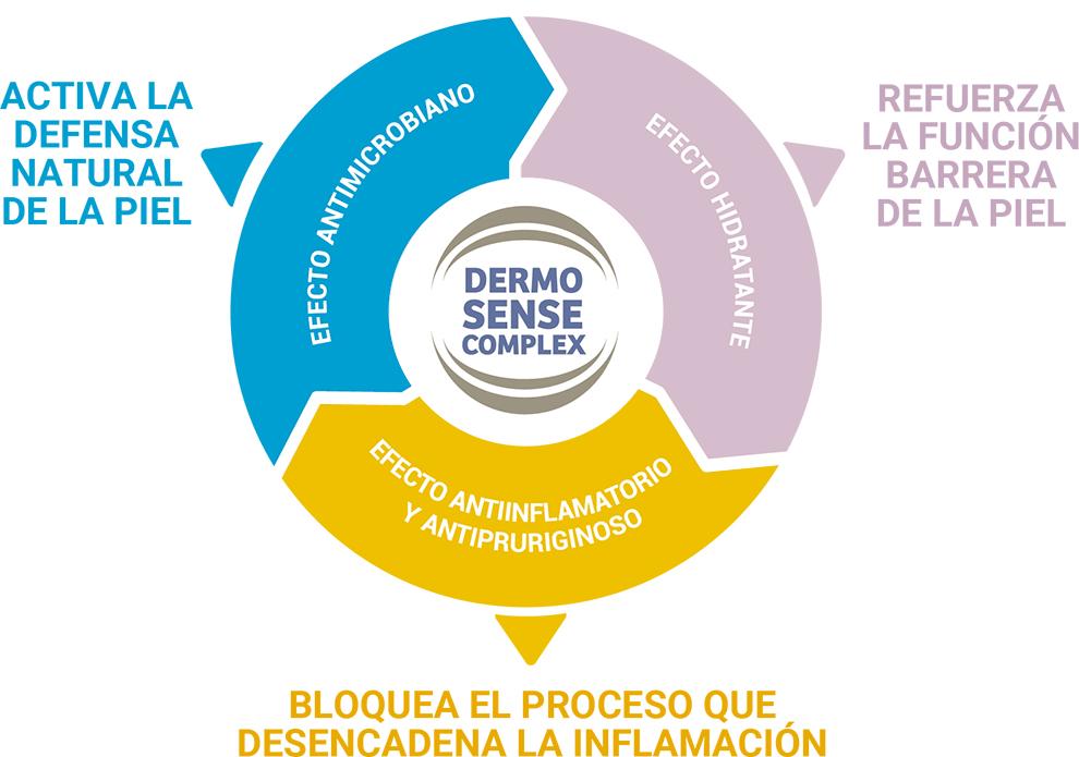 grafico con las propiedades dermo sense complex